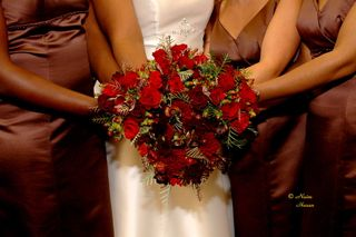 red wedding bouquet bridesmaids bride