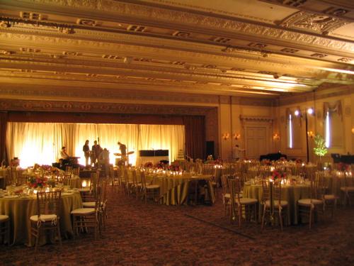 hotel ballroom was the glittering venue for a late winter wedding