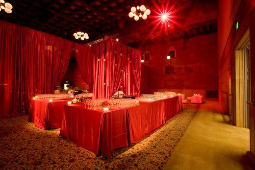 Bar at a red themed wedding, Portland Art Museum