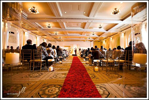 Red Aisle Runner Portland Art Museum Wedding Ceremony